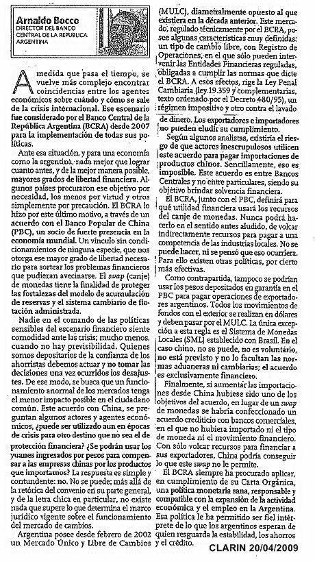 Swap de divisas con China  2009. BCRA