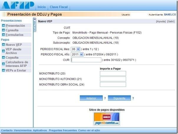 pago online monotributo, afip por vep y cur